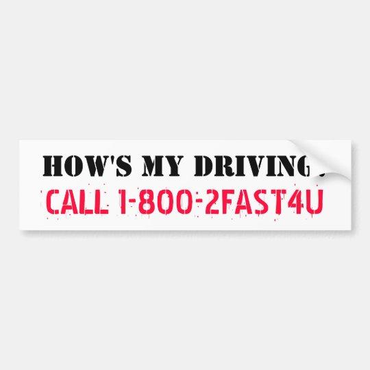 HOW'S MY DRIVING? speed parody sticker