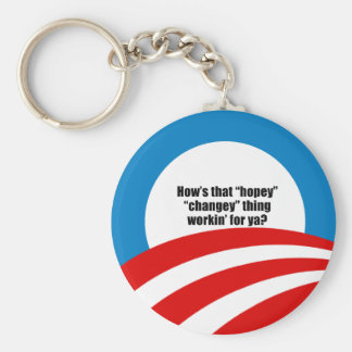 How's that hopey changey thing workin' for ya? basic round button key ring