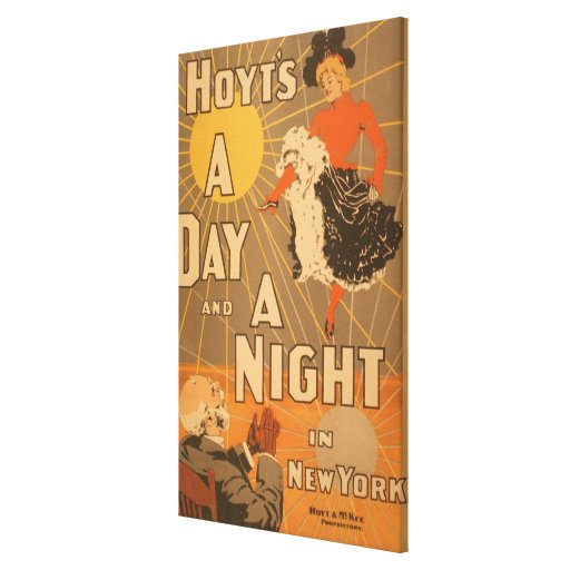 Hoyt's A day and a night in New York City Play Stretched Canvas Prints