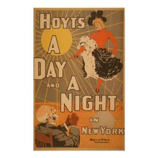 Hoyt's A day and a night in New York City Play Print