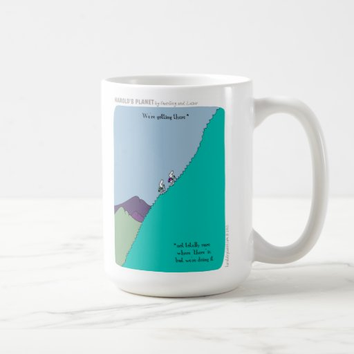 """HP2242 we're getting there """"harold's planet"""" Mugs"""