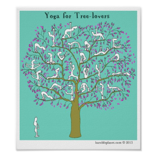 """HP2356 """"Harold's Planet"""" """"Yoga for tree-lovers"""" Print"""