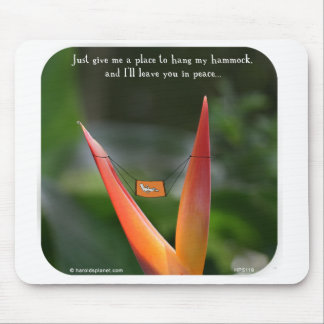 """HP5119 """"Harold's Planet"""", hammock, peace, leave, r Mouse Pad"""
