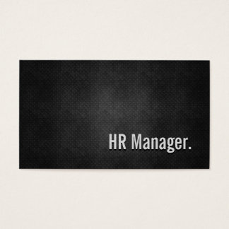HR Manager Cool Black Metal Simplicity Business Card