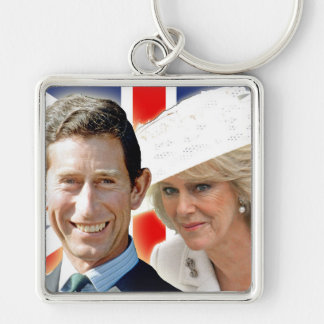 HRH Prince Charles & HRH Duchess of Cornwall Silver-Colored Square Key Ring