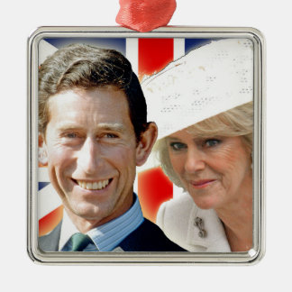 HRH Prince Charles & HRH Duchess of Cornwall Silver-Colored Square Decoration