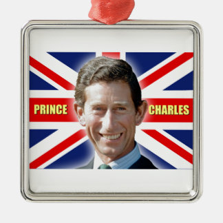 HRH Prince Charles - Patriotic! Silver-Colored Square Decoration