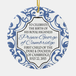 HRH Prince George Blue/White Scroll Christmas Ornament