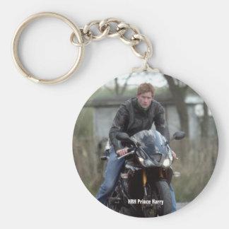 HRH Prince Harry motorbike Basic Round Button Key Ring