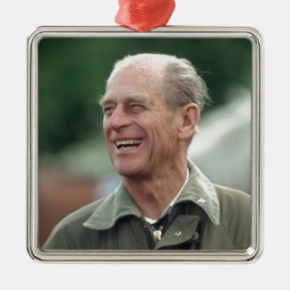 HRH Prince Philip laughing Silver-Colored Square Decoration