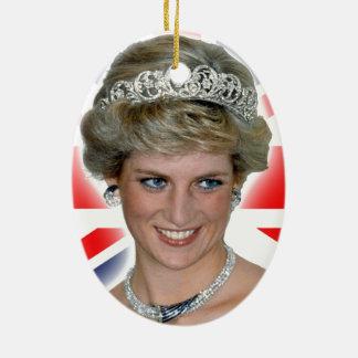 HRH Princess Diana Union Jack Ceramic Oval Decoration