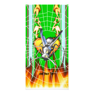 hrome yellow jacket design 2 with fire and web photo card