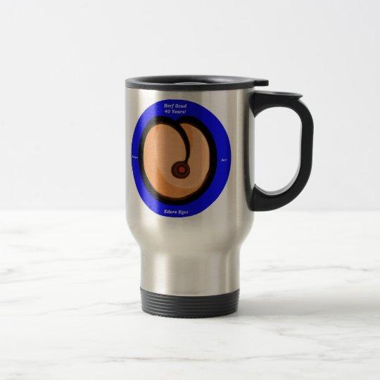 HS Peach Round Blue Border HerfScud Travel Mug