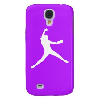 HTC Vivid Fastpitch Silhouette White/Purple Galaxy S4 Case