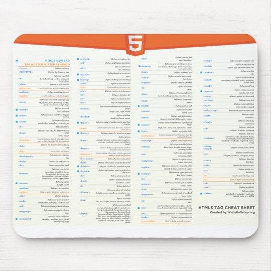 HTML5 Cheat Sheet Mousepad