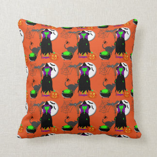 Hubble Bubble Witches Spell Spooky Halloween Throw Pillow