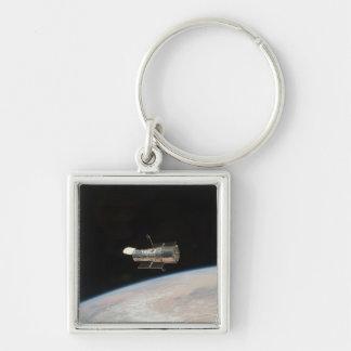 Hubble telescope Silver-Colored square key ring