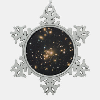 Hubble Wide-Field Image of Galaxy Cluster Pewter Snowflake Decoration