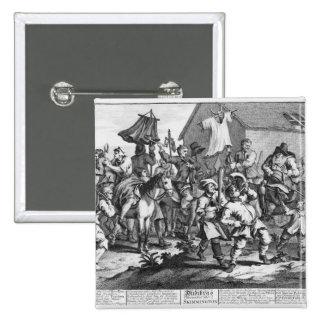 Hudibras Encounters the Skimmington 15 Cm Square Badge