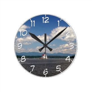 Hudson River Lighthouse Round Clock