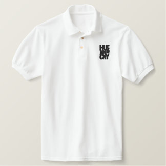 Hue And Cry - Embroidered - PoloShirt (Mens/White) Embroidered Shirt