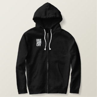 Hue And Cry - Embroidered - ZipHoodie (Mens/Black) Embroidered Hoodie