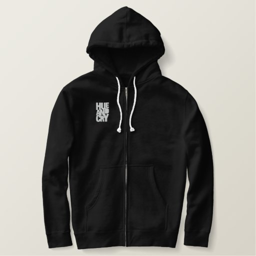 Hue And Cry - Embroidered - ZipHoodie (Mens/Black)