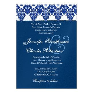 Hues of Blue and White Damask Wedding Invitation