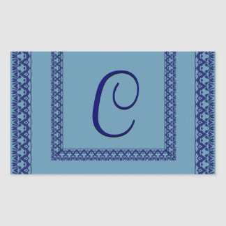 Hues of Blue Ornate Lace Monogram Any Letter V3 Stickers