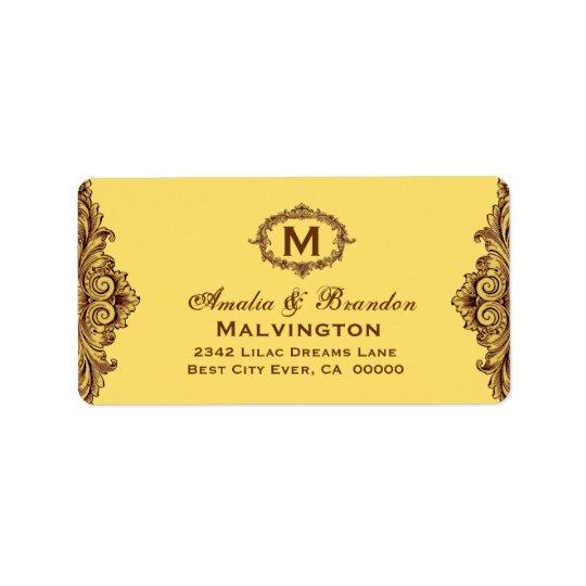 Hues of Gold Vintage Monogram Curlicue V05 Label