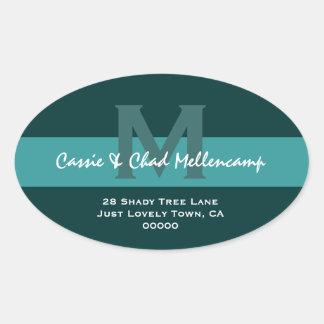 Hues of Teal Modern Wedding Address L004 Oval Sticker