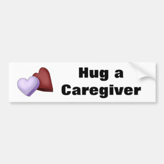 Hug a Caregiver Heart Bumper Sticker