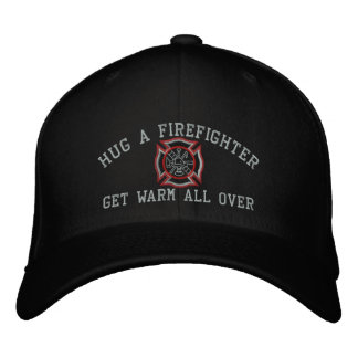 Hug A Firefighter Humorous Custom Embroidery Embroidered Baseball Caps