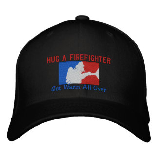 Hug A Firefighter Humorous Custom Embroidery Embroidered Hat