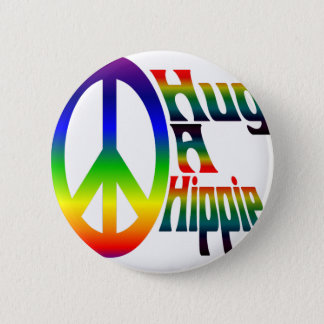 hug a hippie 6 cm round badge