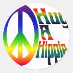 hug a hippie round stickers