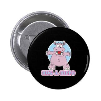 hug a hippo 6 cm round badge