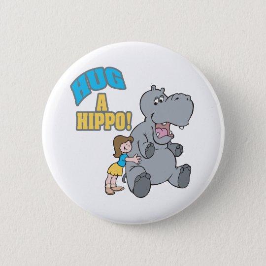 hug a hippo cute cartoon graphic 6 cm round badge