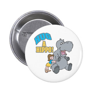 hug a hippo cute cartoon graphic 6 cm round badge