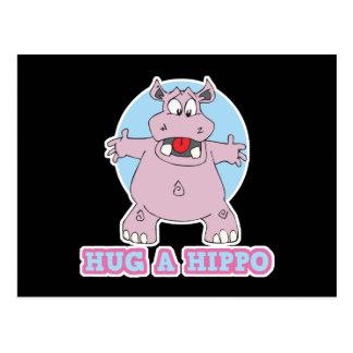 hug a hippo postcard