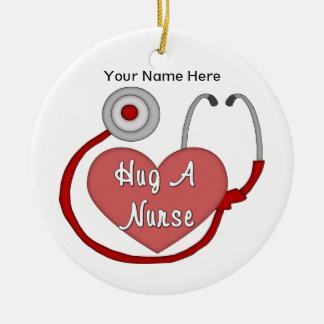 Hug A Nurse (personalized) Round Ceramic Decoration