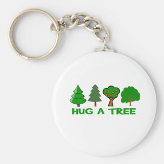 Hug a Tree Basic Round Button Key Ring