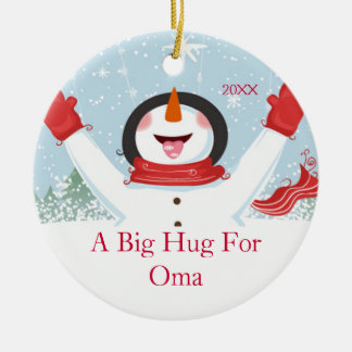 Hug for Oma Christmas Snowman Ornament