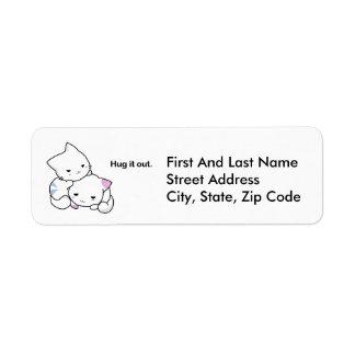 Hug It Out Kittens Cartoon Return Address Label
