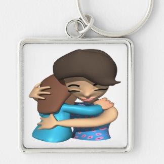 Hug Silver-Colored Square Key Ring