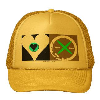 Hug Kiss yellow green Valentine s Hat