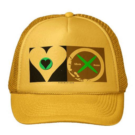 Hug & Kiss (yellow & green) Valentine's Hat