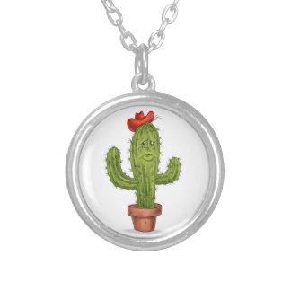 Hug Me Cactus Neclace Silver Plated Necklace