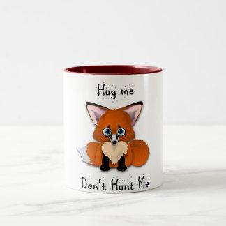 """Hug me, don't hunt me"" Baby Fox Two-Tone Coffee Mug"