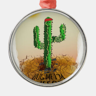 Hug me im awesome Silver-Colored round decoration